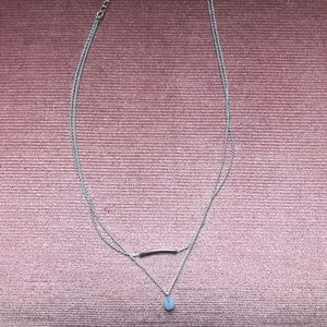 Jewelry - Silver 2-layered necklace with light blue stone